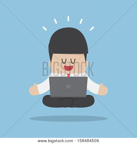 Businessman Meditating When Working With Laptop