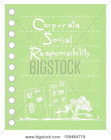 Business Concepts Green Paper with CSR Abbreviation or Corporate Social Responsibility Achieve Notes.