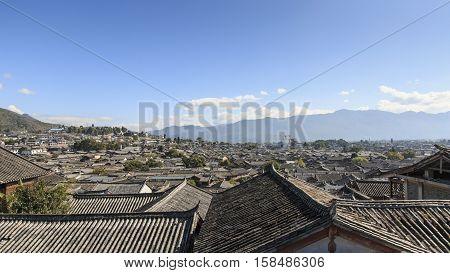 Aerial view of Lijiang Old Town in Yunnan China