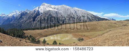 Panoramic view of the Jade Dragon Snow Mountain in Yunnan China