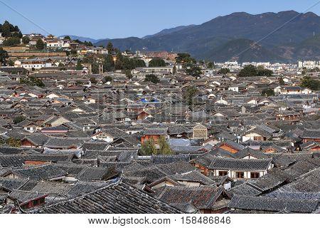 Panoramic Aerial view of Lijiang Old Town in Yunnan China