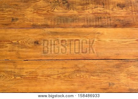 Background of surface of three old wooden planks darkened with time