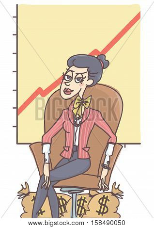 Successful and confident woman sitting in leather armchair, money sacks around her legs, chart in the back showing business growth.