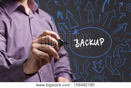 Technology, Internet, Business And Marketing. Young Business Man Writing Word: Backup