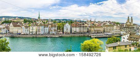 ZURICH,SWITZERLAND - SEPTEMBER 3,2016 - Limmatquai - street near river Limmat in historical core of the city Zurich. Zurich is the largest city in Switzerland.