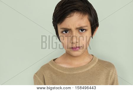 Little Boy Frowning Sad Concept