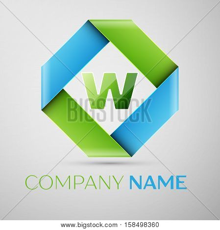 Letter W vector logo symbol in the colorful rhombus. Vector template for your design