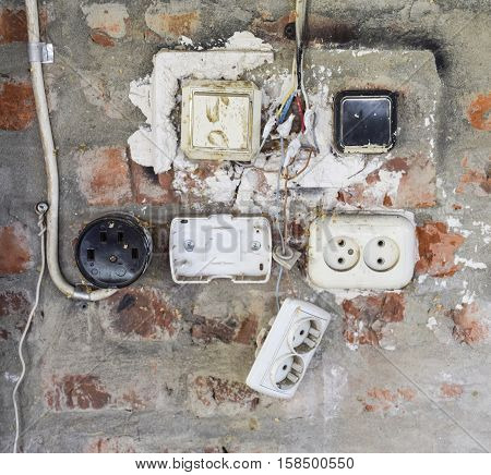 Old Panel With Switches And Sockets. Old Electrical Wiring