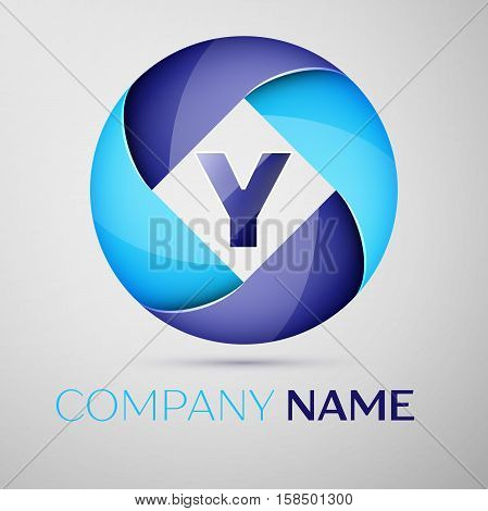 Y letter colorful logo in the circle. Vector template for your design