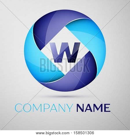 W letter colorful logo in the circle. Vector template for your design