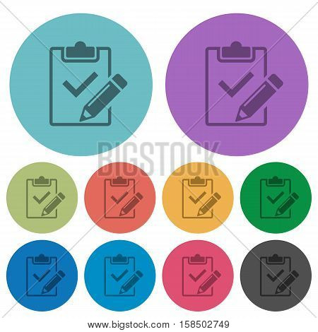 Fill out checklist flat icons on color round background.