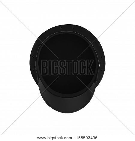 Bottom view police flat cap isolated on white background. 3D illustration