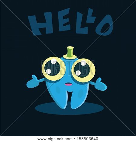 Funny cartoon smiling character. Humor kids vector illustration.
