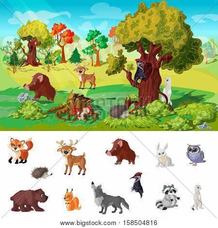 Woodland animals concept with wildlife design and set of predatory and herbivorous beasts isolated vector illustration
