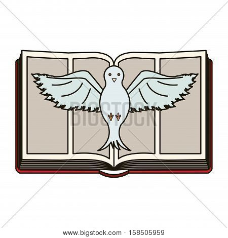 Bible and dove icon. Religion god pray faith and believe theme. Isolated design. Vector illustration
