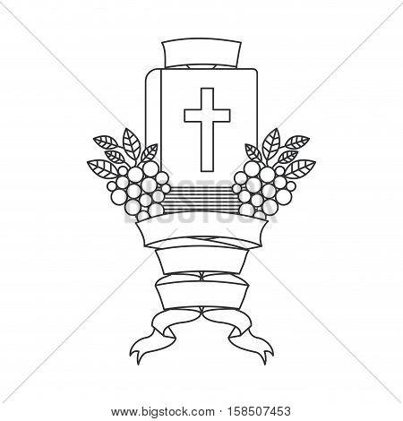 Bible icon. Religion god pray faith and believe theme. Isolated design. Vector illustration