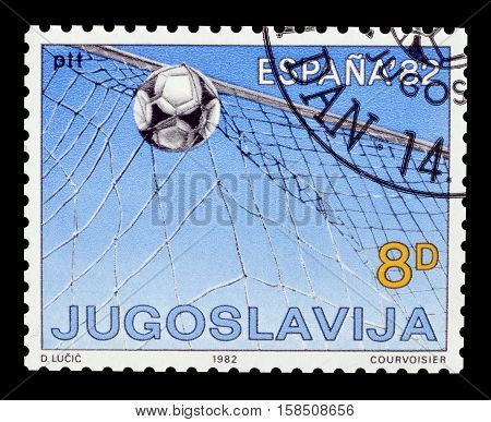 YUGOSLAVIA - CIRCA 1982 : Cancelled postage stamp printed by Yugoslavia, that shows Football.