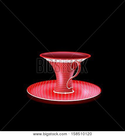 black background and the big red old-fashioned cup