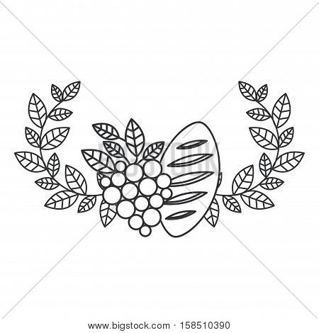 Wreath grapes and bread icon. Religion god pray faith and believe theme. Isolated design. Vector illustration
