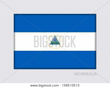 Flag of Nicaragua. Rectangular Official Flag. Aspect Ratio 2 to 3. Under Gray Cardboard with Inner Shadow