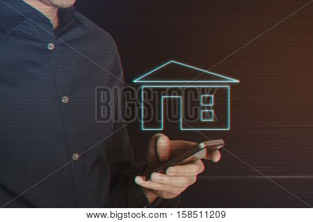 Young Business Man Using Smartphone with Home Icon on Light Motion Background and Lens Flare - Digital 3d Effect Style Color