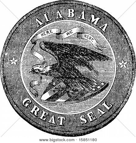 The Great Seal Of The State Of Alabama Vintage Engraving.
