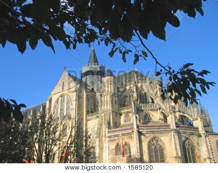 French Abbey From Outside With A Foliage In The Foreground, Eu, France