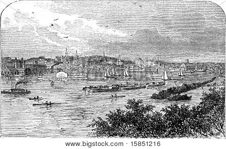Albany, New York, In 1890. Capital City Of New York State. Engraving.