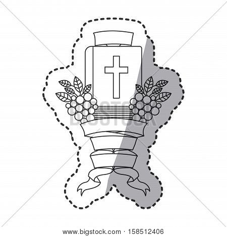 Bible grapes and ribbon icon. Religion god pray faith and believe theme. Isolated design. Vector illustration