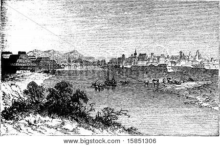 Alessandria City Vintage Engraving. In Piedmont, Italy, And The Capital Of The Province Of Alessandr