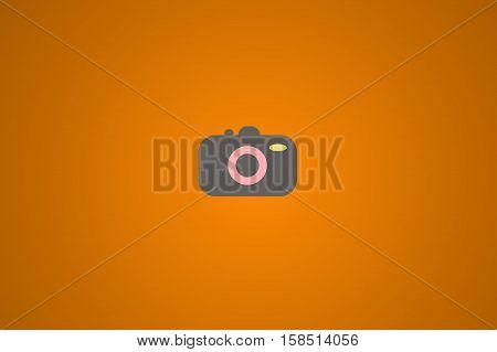 Illustration of photocamera on orange background. Minimalist style background