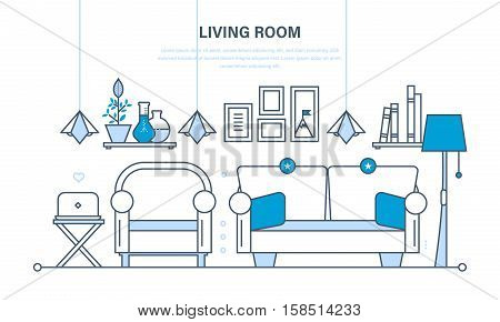 The comfortable living room, a room for reception of guest, home furnishings and comfortable interior, the furniture, decor items. Illustration thin line design of vector infographics elements.