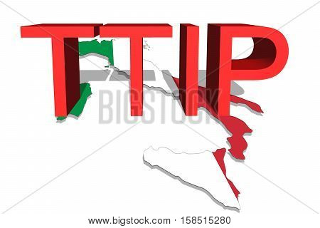 Ttip - Transatlantic Trade And Investment Partnership On Italy Map