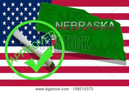 Nebraska On Cannabis Background. Drug Policy. Legalization Of Marijuana On Usa Flag,