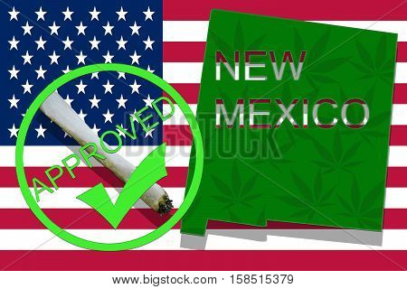 New Mexico  On Cannabis Background. Drug Policy. Legalization Of Marijuana On Usa Flag,