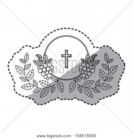 Cross and wreath icon. Religion god pray faith and believe theme. Isolated design. Vector illustration