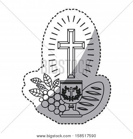 Cup grapes and bread icon. Religion god pray faith and believe theme. Isolated design. Vector illustration