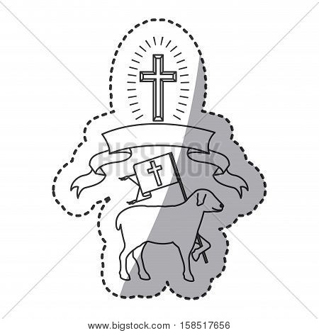 Sheep and ribbon icon. Religion god pray faith and believe theme. Isolated design. Vector illustration