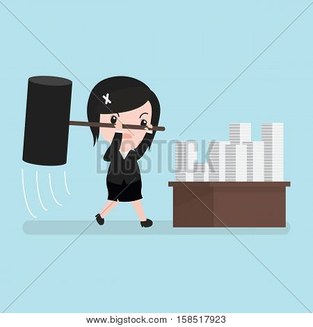 Business Woman Furious Frustrated Hitting Papers, Cartoon