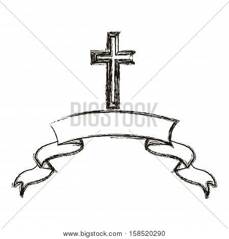 Cross and ribbon icon. Religion god pray faith and believe theme. Isolated design. Vector illustration