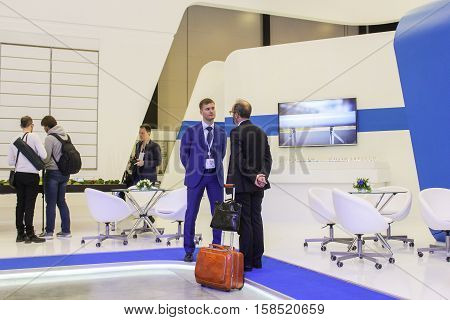 St. Petersburg, Russia - 5 October, Communication of business people on the forum, 5 October, 2016. Petersburg Gas Forum which takes place in Expoforum.