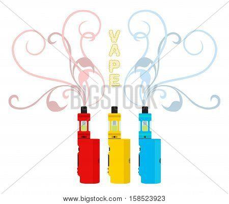 Bright vape devices set. Vaping liquid, smoke inhaler. Flat style