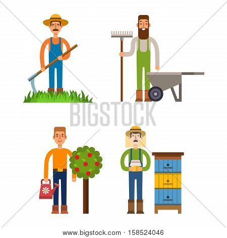 Farmers and gardeners flat agriculture icons set isolated vector. Organic person man farmers agriculture, food cultivated. Country agricultural countryside farmers rural healthy field male.