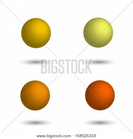 3D sphere. Set of realistic balls of different shades of yellow. Vector illustration.