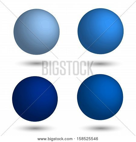 3D sphere. Set of realistic balls of different shades of blue. Vector illustration.