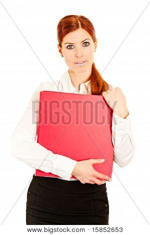 Business woman with red ring file