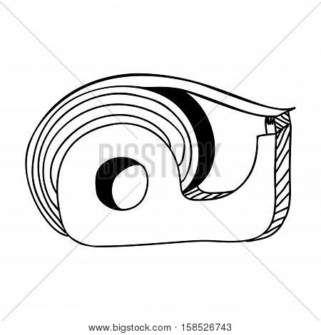 monochrome contour of tape adhesive with blade cut vector illustration