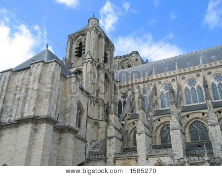 Saint Etienne Cathedral View Of The Church Tower, Bourges, France