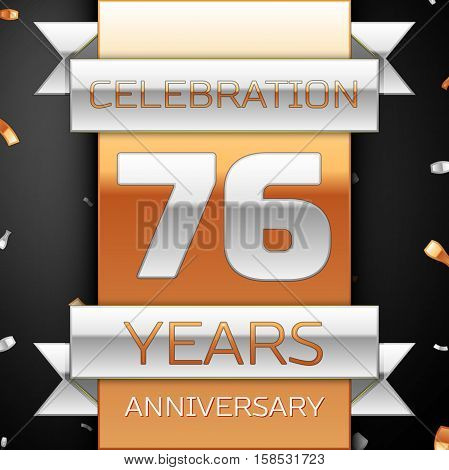 Seventy six years anniversary celebration golden and silver background. Anniversary ribbon
