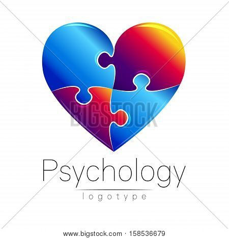 Modern logo of Psychology. Puzzle heart. . Creative style. Logotype in vector. Design concept. Brand company. Blue and grief red color on white background. Symbol for web, print, card, flyer. Illustration